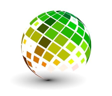 geografia: Resumen esfera vector 3d con diseño de mosaico brillante.