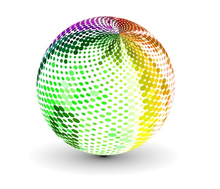 wireframe globe: abstract 3d vector sphere with circle design.  Illustration