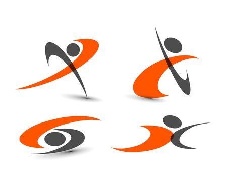trabajo social: conjunto de iconos - símbolos de la gente conectada.