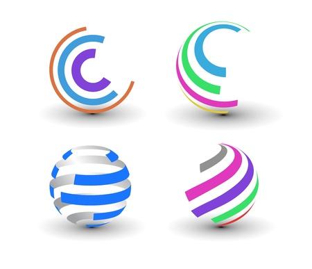 wereldbol groen: set van abstracte kleurrijke icoontjes element.
