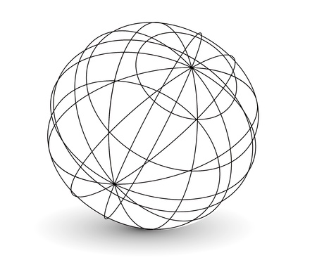 globe grid: vector wireframe sphere globe illustration. Illustration