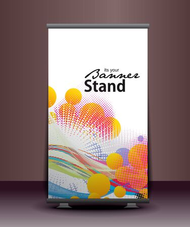 identification: a roll-up display with stand banner template design, vector illustration.  Illustration
