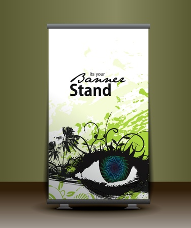 rollup: a roll-up display with stand banner template design, vector illustration.  Illustration