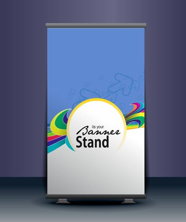 index card: a roll-up display with stand banner template design, vector illustration.  Illustration
