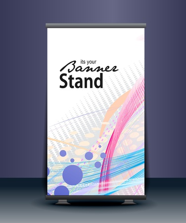 id badge: a roll-up display with stand banner template design, vector illustration.  Illustration