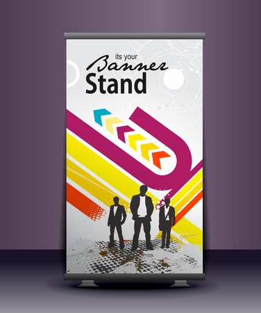 advertisement: a roll-up display with stand banner template design, vector illustration.  Illustration