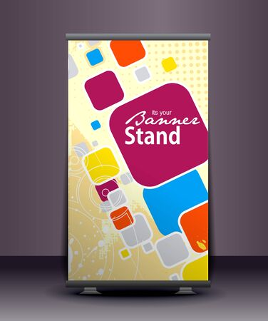 a roll-up display with stand banner template design, vector illustration.  Vector