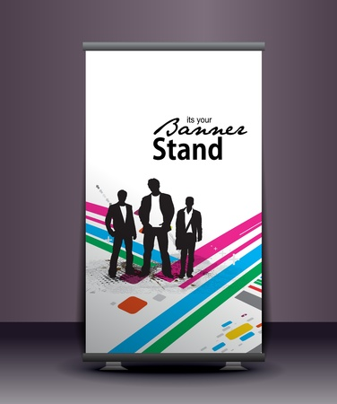 adverts: a roll-up display with stand banner template design, vector illustration.  Illustration