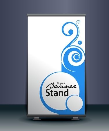display stand: a roll-up display with stand banner template design, vector illustration.  Illustration