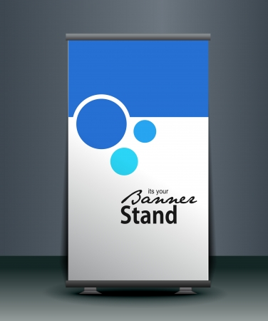 announce: a roll-up display with stand banner template design, vector illustration.  Illustration