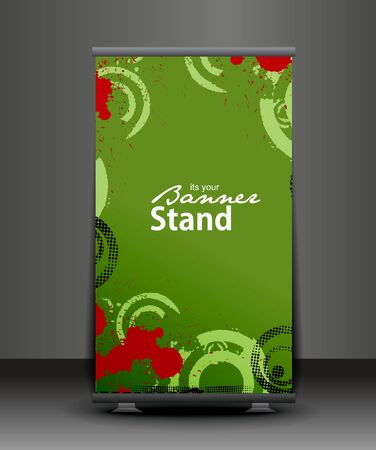 warn: a roll-up display with stand banner template design, vector illustration.  Illustration