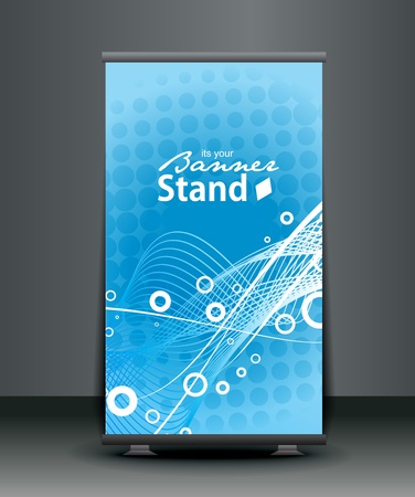 identification card: a roll-up display with stand banner template design, vector illustration.  Illustration