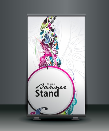 identify: a roll-up display with stand banner template design, vector illustration.  Illustration