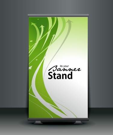 banner ads: a roll-up display with stand banner template design, vector illustration.  Illustration
