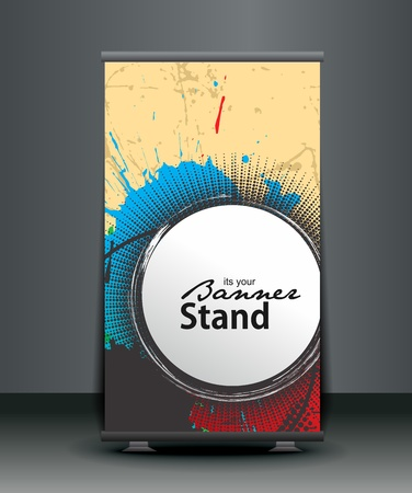 a roll-up display with stand banner template design, vector illustration. Stock Vector - 10497645