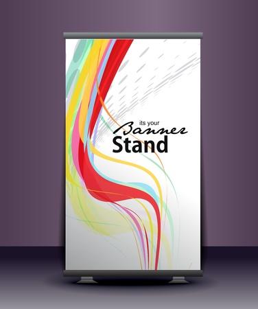 beursvloer: een roll-up display met standaard banner template ontwerp, vector illustratie.