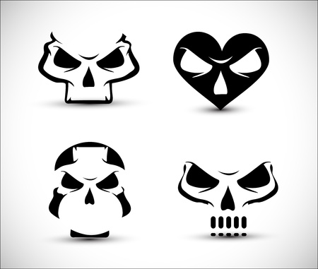 set of stylized skull shaped design elements on white background. Stock Vector - 10497630