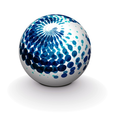 halfone: 3d vector retro sphere.