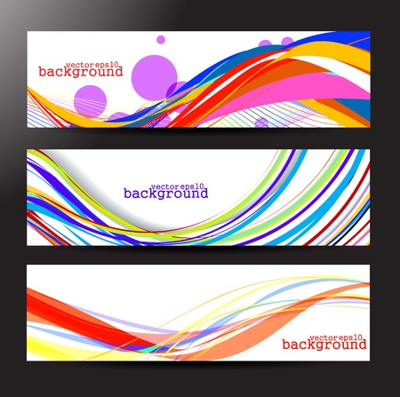 footer: Set of three colourful wave banners element design.