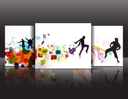 danza moderna: Conjunto de antecedentes de baile de música abstracta para el diseño de evento de música. ilustración vectorial.