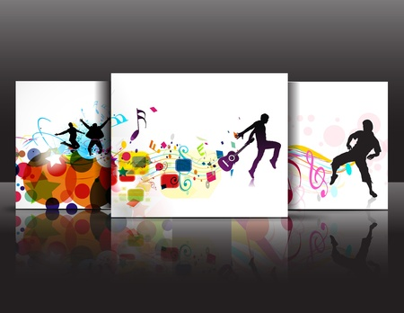 club scene: Set of Abstract music dance background for music event design. vector illustration.