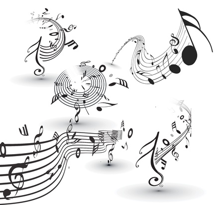 music sheet: Set of four vector musical notes staff