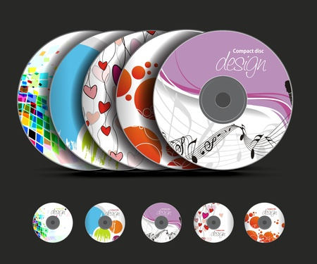 cd: Set of vector cd cover design template design. Illustration
