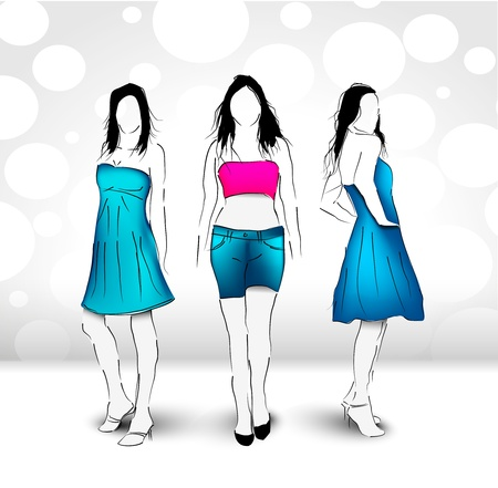 clothed: Moda Donna illustrazione vettoriale