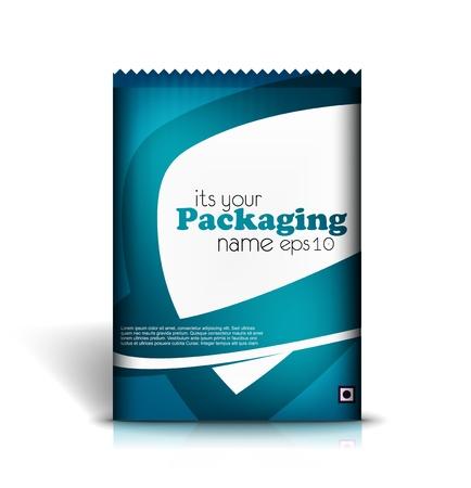 Presentazione del sacchetto sfondo contenuto di design pack. illustrazione vettoriale modificabile