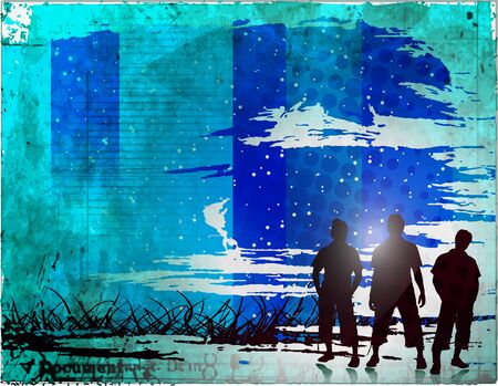 bussines: Group happy friend standing with grunge vector background. Illustration