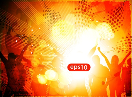 Dancing background of music party people vector. Vector