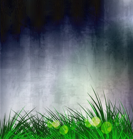 pasturage: Green vector grass with texture background Illustration