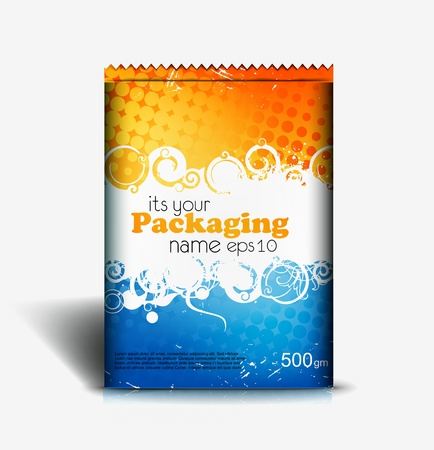 packaging design: Presentation of pouch pack design content background. editable vector illustration  Illustration