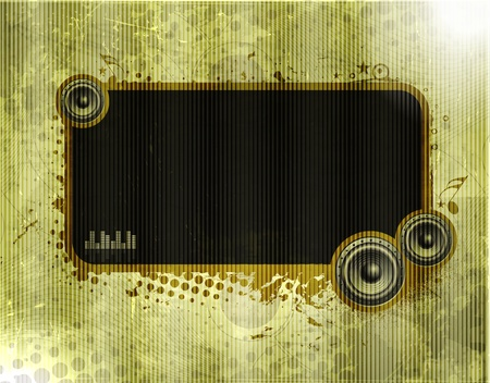 Vector ornate texture banner with music template element, vector illustration  Vector