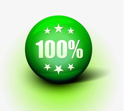 Vector 3d 100% off green sphere isolated.