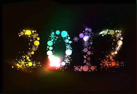 Colorful new year 2012 in balck background. Stock Vector - 10497722