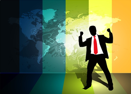 Success businessmen standing in front of an world map.  Vector