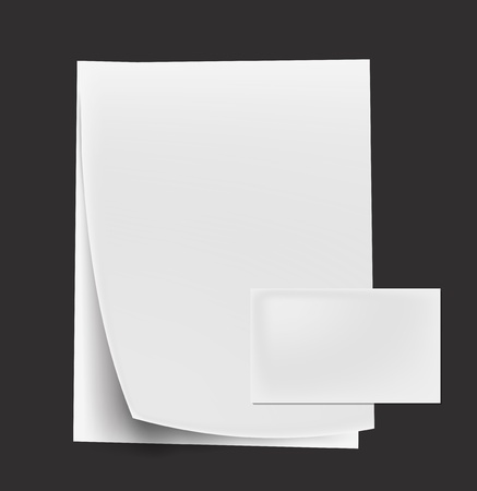cardboard cutout: various white note curl papers & card on white background