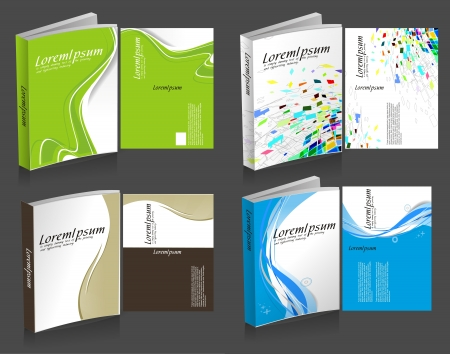 content page: set of colorful book cover design template