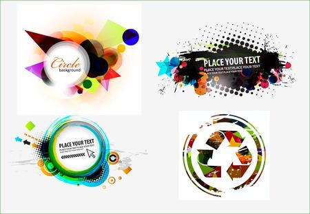 reflect: Set of abstract grunge stylish banners design. Illustration