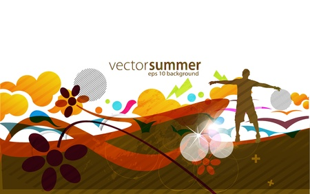 rural scene: abstract vector summer banners with and man rising the hand
