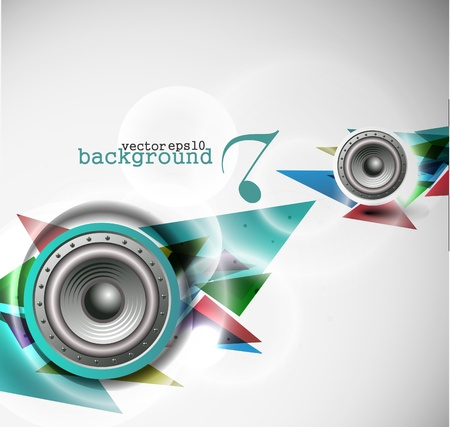 funky music: abstract vector loudspeakers, music theme background.