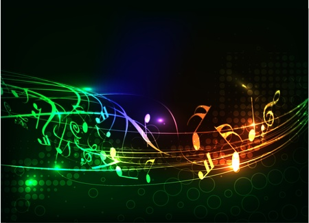 popular music concert: abstract colorful music note vector background