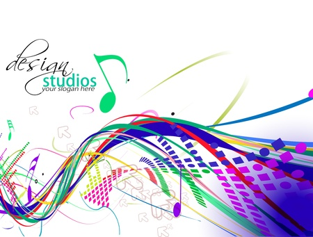 symphony orchestra: abstract colorful music note vector background