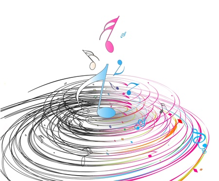 minims: music note background with swir wave lines. Illustration