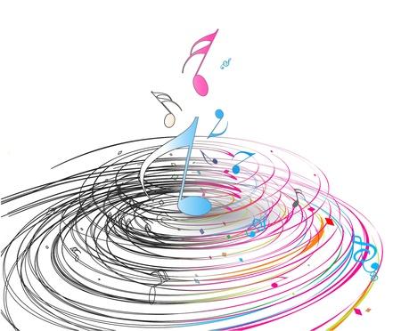 semiquaver: sfondo di musica nota con linee di onda swir. Vettoriali