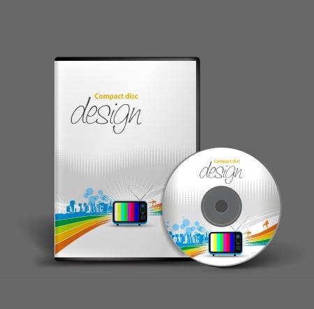 boite a musique: Mod�le de conception de CD couvercle avec copie espace. Illustration