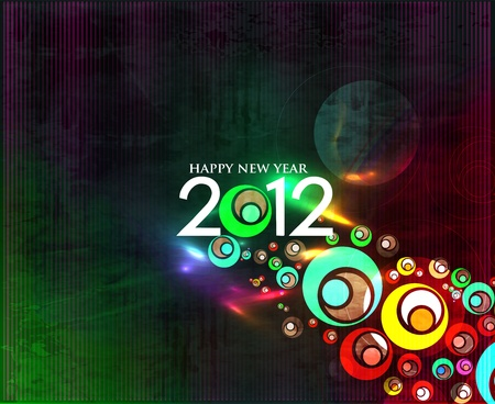 new years resolution: New year 2012 colorful design illustration. Illustration