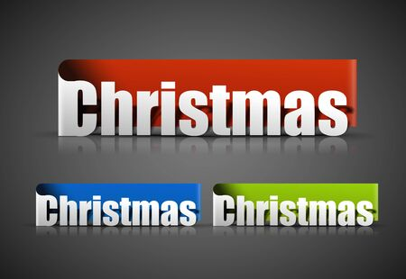 christmas sticker with black background. Vector