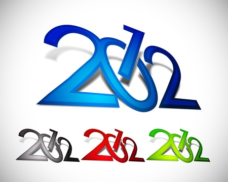 new year 2012 in white background.  Vector